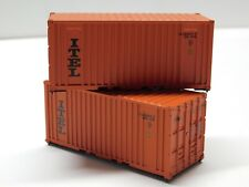 HO Scale - Athearn - Lot of (2) 20' ITEL Intermodal Shipping Containers