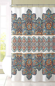 "Fabric Shower Curtain for Bathroom WhiteNavyOrangeCoral Floral Design  72"" L"