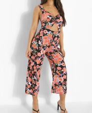 Boohoo Black Floral Cut Out Culotte Jumpsuit Size 14