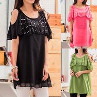 Women Ladies Summer Party Casual Tunic Chiffon Dress AU Size 10 12 14 16 18 1669