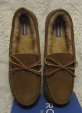 Mens Rockport Moccasin Suede Indoor/Outdoor Slippers Tan Size 11 NW/BOX