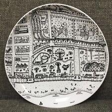 "West Elm James McNally Coney Island Salad Appetizer Plate Black White 8.75"""
