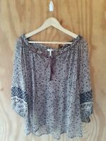 JOIE Women's Blouse Top 3/4 Puff Sleeve Keyhole Neck Floral Print Sheer.Size M