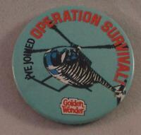 Vintage Golden Wonder Operation Survival Pin Pinback Button Badge