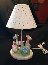 Nursery Lamp Zoo Animal Theme Pastels And Pink Polk Dot Lamp Shade Working