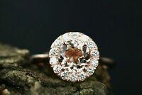 2ct Round Cut Peach Morganite Engagement Ring 14k Rose Gold Finish Halo Design
