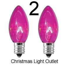 2 C7 Pink Christmas Light Glass Bulbs Transparent Incandescent