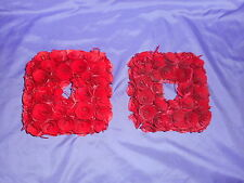 "8"" X 8"" ROSE WOOD CURL WREATHS (2) RED CHRISTMAS VALENTINE WEDDING CENTERPIECE"