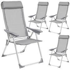 Lot de 4 chaises de jardin aluminium pliante camping terrasse balcon gris nouvea