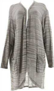 H Halston Textured Space Dye Open Front Cardigan Navy S NEW A278925