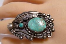 Navajo Shadow Box Turquoise Ring Old Pawn Sterling Silver Handcrafted Amazing