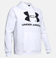 Under Armour Hoodie Mens 2XL White Authentic Rival Fleece Logo Loose Fit