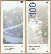 USA United States 100 Dollar 2014 UNC SPECIMEN Concept Test Note Banknote