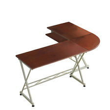 L-Shaped Corner Computer PC Desk Laptop Table Wood Workstation Home Office Brown