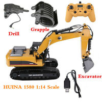 HUINA 1580 1:14 Scale 3 in 1 Metal Excavator/Drill/Grapple 2.4GHz RC Car Gifts