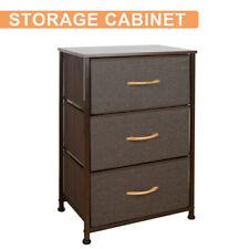 Bedroom Storage Dresser Tower Shelf Organizer Bins Cabinet w/ 3 Fabric Drawers