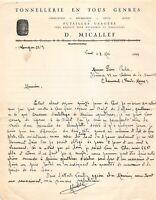 Ancienne lettre - Tonnellerie en tous genre D. MICALLEF 1944