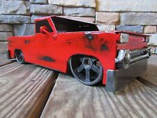 1966 Chevy Truck-Metal Art-Fathers Day-Welding-Lowrider-Red-Black-Steel-Wood Bed