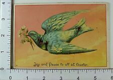 Embossed Victorian Easter Trade Card Vibrant Colorful Dove Flowers In Beak *A