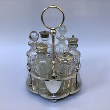 More details for antique silver plated condiment set in caddy six pieces john clarke & son