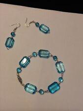 Handbeaded Earring/Bracelet/Necklace Set Faux Aquamarine/Sterling Silver Earwire