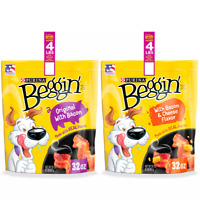Purina Beggin' Strips Real Meat Dog Treats Variety Pack (2) 32 oz. Pouches.