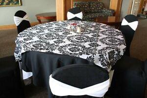 "10 pcs 60"" x 60"" Damask Flocked Flocking Black White Square Tablecloth Overlays"
