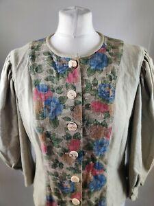 Hofer Vintage Blouse Linen Blend Button Front Floral Print Balloon Sleeve 10 12