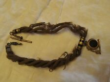 High Wheeler Bicycle Watch Fob with Woven Chain Victorian
