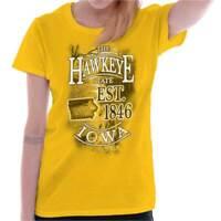Iowa The Hawkeye State Est 1846 Map Tourist Womens Short Sleeve Ladies T Shirt