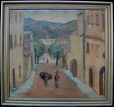 Andreas Friis. French village scenery. Man with donkey 1928