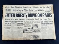 Enter Brest; Drive On Paris 1944 Old Newspaper Chicago Tribune Aug 6