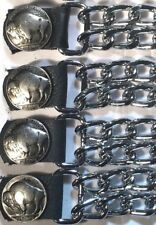 4 BUFFALO NICKEL DIAMOND CUT CHROME CHAIN MOTORCYCLE BIKER VEST EXTENDERS USA