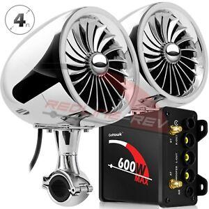 Refurbished 600W Amp Bluetooth Motorcycle Stereo Speakers Audio System FM Radio