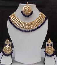 Indian Ethnic Gold Plated UK Fashion Jewelry Kundan Necklace Earrings Tikka Set