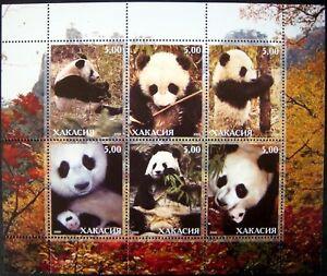 2000 MNH PANDA STAMPS SHEET OF 6 GIANT PANDA BEAR WILD ANIMALS WILDLIFE NATURE