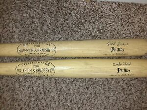 """2 Louisville Pro Phillies used wooden approved Little League bat 28"""""""