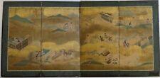 Antique Japanese 4 Panel Byobu Screen - Tales of Genji. 73� x 36�.