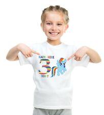 My Little Pony Rainbow Dash Birthday White T Shirt Ages 1-6 Freepost
