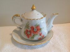 Vintage Handpainted Ceramic Teapot and Plate with Flowers