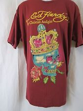 ED HARDY Christian Audigier King Skull Burgundy Red T-Shirt Men's Size 2X XXL