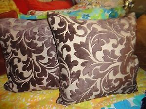 RETRO BROWNISH RAISED BOHO VELVET MEDALLION SCROLL (2) SQUARE THROW PILLOW 19""