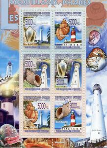 Guinea Seashells & Lighthouses Stamps 2008 MNH Shells Architecture Marine 6v M/S