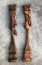 WITCO Vintage Tiki Wood Wall Art - King and Queen - Mid Century Retro Kitsch