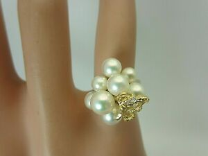 18k Yellow Gold 6 mm. Saltwater Pearl Cluster and Diamond Ring with Butterfly