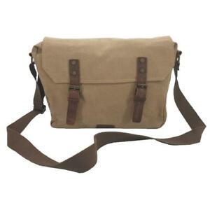 """Medic 14"""" Camel Vintage Fashion Canvas & Leather Medical Messenger Shoulder Bag"""