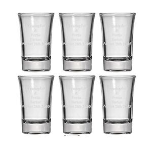 Personalized Set of 6 Shot Glasses (1.5oz) Free Engraving Groomsman & Bridesmaid
