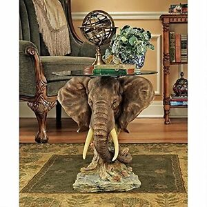 "KY86485 - Lord Earl Houghton's Trophy Elephant Glass-Topped Table - 18"" Dia. Top"