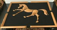 Large Mid Century Modern Framed Segmented Wood Running Horse Wall Art Sculpture