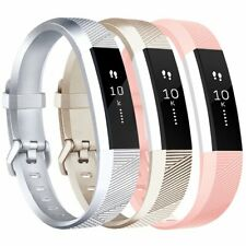 3 x Fitbit Alta Hr Bands Fitness Watch Strap Silver Gold Pink S